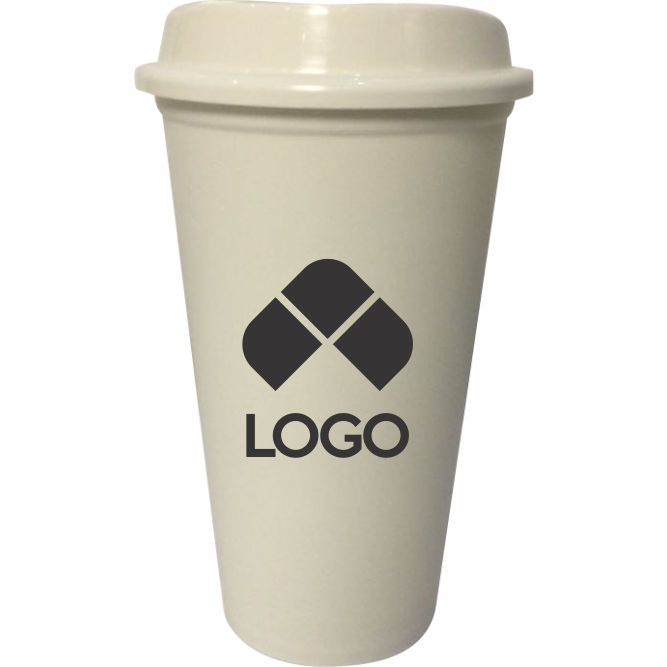 VASO DE PLASTICO REUSABLE COLOR HUESO PARA CAFE CON TAPA CON CAPACIDAD 473 ML (16 OZ)