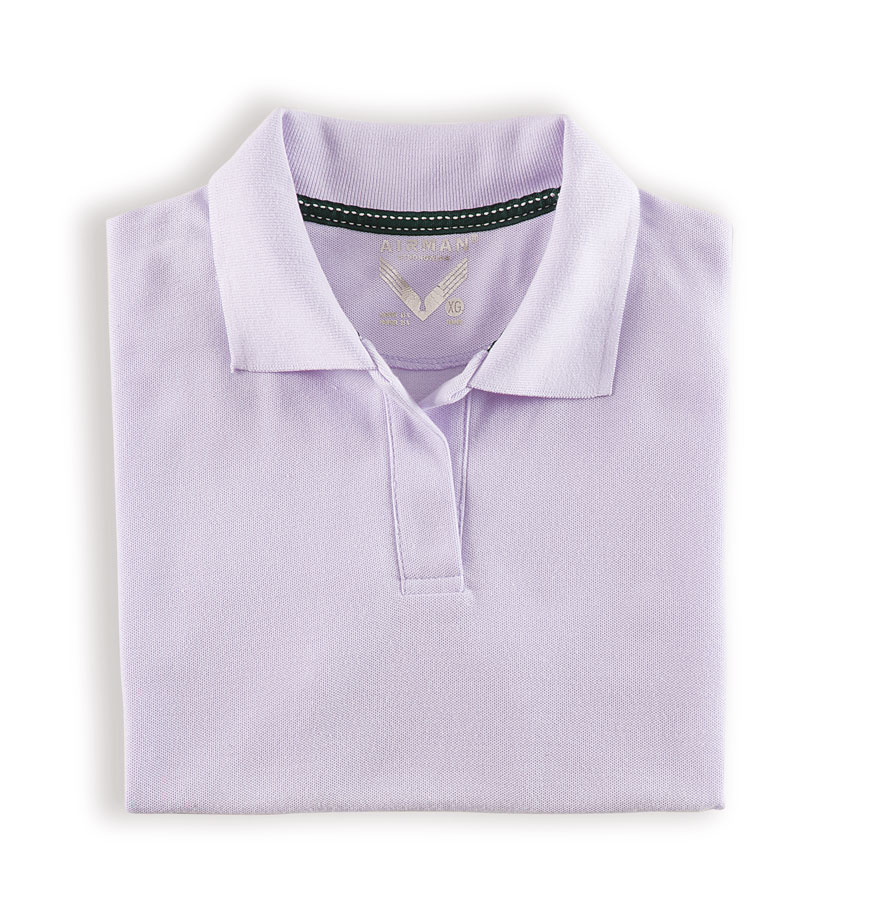 PLAYERA AIRMAN POLO TENNIS DAMA LAVANDA LOGO BORDA